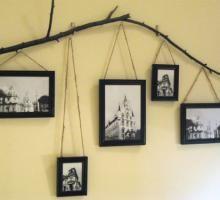 Mural para Fotos Feito com Galhos Secos