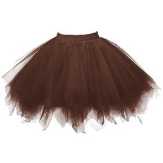 Honeystore Women's Short Vintage Ballet Bubble Puffy Tutu Petticoat... ($20) ❤ liked on Polyvore featuring skirts, mini skirts, bubble skirts, ballerina skirts, ballet tutu skirt, short brown skirt and short skirts