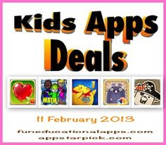 Today's 5-A-Day features 4 FREE APPS : a fun app to create Happy Valentine cards, a cool math app adventure game, a great storybook apps series, a cool app to learn to read the clock! Our selected price drop is a Fun Educational Apps TOP PICKS !
