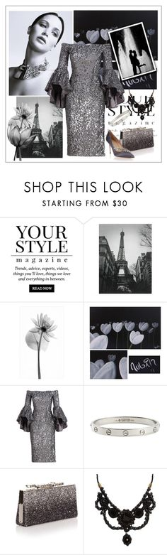 """Romantic evening"" by frenchfriesblackmg ❤ liked on Polyvore featuring Pussycat, Pottery Barn, NOVICA, Milly, Cartier, Jimmy Choo, Gucci and Manolo Blahnik"