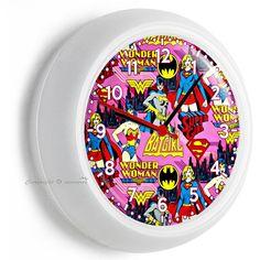Clocks Batgirl Super Hero Girl Wonder Woman Wall Clock Pink Bedroom Home Room Decor & Garden Superhero Room Decor, Superhero Gifts, Pink Bedroom Decor, Pink Bedrooms, Superman Room, Wall Clock With Temperature, Handmade Wall Clocks, Cat Clock, Pendulum Wall Clock
