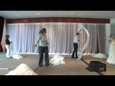 Event Location in Atlanta setup for a Wedding with Sheer Walls, Full Sheer Ceiling, and Mirrored Chandeliers Wedding Wall, Wedding Stage, Wedding Blog, Wedding Reception, Baby Shower Venues, Fabric Covered Walls, Draped Fabric, Fabric Backdrop, Church Stage Design