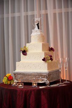 Villa Christina Wedding | Orchids Wedding Cake Decor | Ivory Buttercream | Square Wedding Cake Layers | Photo by the studio b photography
