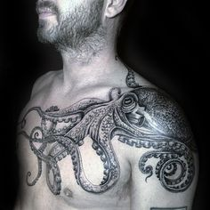 Male Octopus Tattoo Ideas On Shoulder And Chest