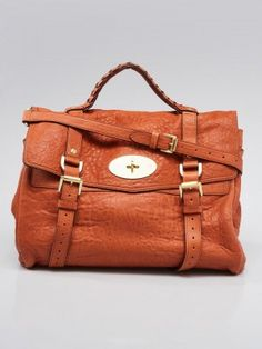 037405c01f0 Authentic Mulberry Brown Grained Leather Oversized Alexa Satchel Bag at Yoogi's  Closet. Condition is Like new
