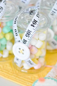 Button jars at a sewing themed birthday party via Kara's Party Ideas | Kara Allen | KarasPartyIdeas.com A lot of cute as a button elements, decor, cupcakes, food, games and more!_-100