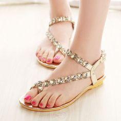 2013 flat shoes - http://zzkko.com/n83836-013-summer-new-Korean-version-of-sweet-toe-cap-shoes-flat-shoes-with-flat-sandals-women-diamond-decorative-elastic-band $9.83