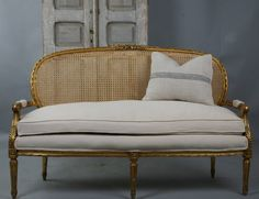 Antique French Cane Gilt Carved Sofa New Upholstery As with all items from Paris Couture Antiques shipping is only Lounges, Cane Sofa, Couch Makeover, Cane Furniture, Furniture Ideas, Refinished Furniture, Boudoir, French Sofa, Wooden Sofa