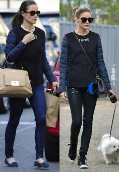 Pippa versus Olivia Palermo - Fay jacket, Paige jeans