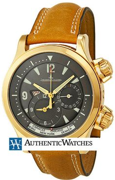 Q1712440 NEW JAEGER LECOULTRE MASTER COMPRESSOR GEOGRAPHIC MENS WATCH Usually ships within 8 weeks- FREE Overnight Shipping- NO SALES TAX (Outside California)- WITH MANUFACTURER SERIAL NUMBERS- Charcoal Grey Dial- Self Winding Automatic Movement- 3 Year Warranty- Guaranteed Authentic- Certificate of Authenticity- Scratch Resistant Sapphire Crystal - Solid 18K Rose Gold Case - Brown Leather Strap with Alligator Pattern - Manufacturer Box