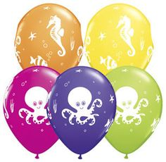 "12 Helium Quality 11"" Fun Sea Creatures Party Balloons Octopus Sea Horse Fish"