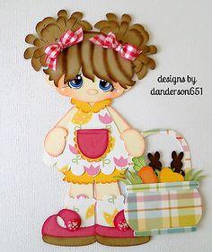 Easter Girl Basket Paper Piecing  PreMade 4 Border Scrapbook Album danderson651