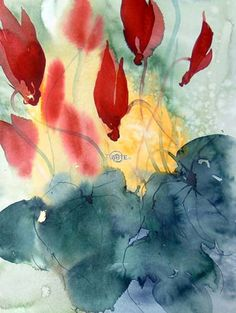 Adriana Buggino - Ciclamini Dimensioni: 28x38 Anno: 2008 Acquarello Figurativo