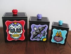 Day of the Dead CANISTERS SET Vintage  Sugar by illustratedink