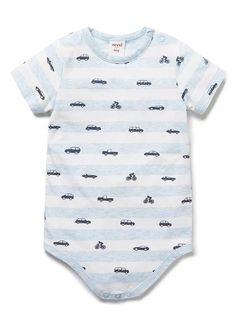 100% Cotton short sleeve bodysuit in all over yarn dyed stripe and cars print. Features crotch and shoulder snap fasteneres for easy dressing.