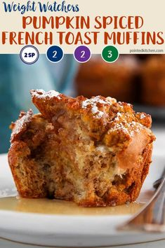 These simple Pumpkin Spiced French Toast Muffins are just 2 SmartPoints on the blue & purple Weight Watchers plan or 3 SmartPoints on the green plan. A tasty WW dessert recipe. Weight Watchers Muffins, Weight Watchers Pumpkin, Weight Watchers Breakfast, Weight Watchers Diet, Weight Watchers Desserts, Weight Watcher Cookies, Ww Recipes, Snack Recipes, Dessert Recipes