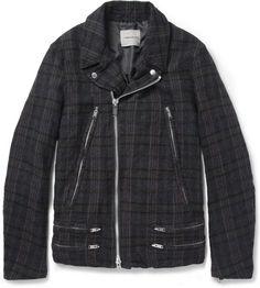 Neighborhood Plaid Wool Biker Jacket