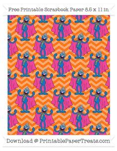 Free Pumpkin Orange Chevron Large Grover Pattern Paper - Sesame Street