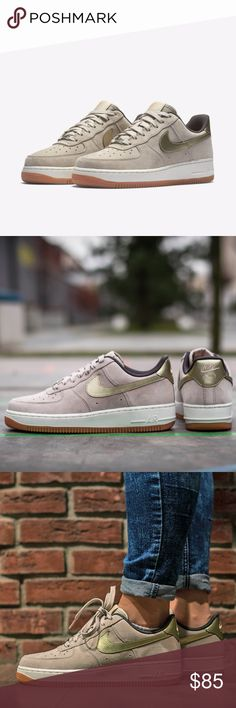 Nike Air Force 1 '07 Premium Suede Metallic gold swooshes and a tan suede. Soft and elastic cushioning and bulky midsole, and Nike Air technology itself gives way to icon status, which this model enjoys. Upper of these women's Nike Air Force 1 Premium Sued sneakers is made of high quality natural leather while the inside is lined with textile material. Comes with box - no lid. Nike Shoes Sneakers