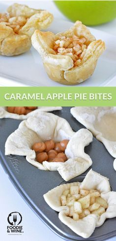 Caramel Apple Pie Bites- Easy holiday dessert recipe your guests will love. Featuring puff pastry, caramel bites and delicious apples. Puff Pastry Appetizers, Puff Pastry Desserts, Puff Pastry Recipes, Appetizer Recipes, Puff Pastries, Puff Pastry Apple Pie, Dessert Recipes, Appetizer Dishes, Pudding Desserts