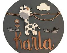 Lovely Giraffe Handmade Wooden Sign For Boy or Girl Painted Name Signs, Wooden Name Signs, Custom Wooden Signs, Wood Signs, Baby Decor, Nursery Decor, Childrens Room Decor, Wooden Decor, Home And Deco