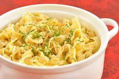 A creamy noodle side dish flavored with fresh dill and sour cream - great for serving with simple entrees like broiled fish or roast chicken.