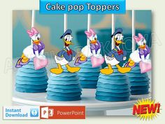 Printable Disney Donald Duck Cupcake Topper, daisy Cake Pop Topper,picks, decor #Disney #party