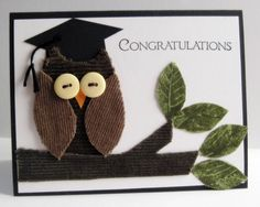 congratulations graduate handmade cards | Graduation Card, Congratulations Card, Greeting Card, Owl Card, Card ...