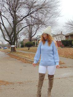 Blue Turtleneck Open Shoulder Sweater by Make Me Chic