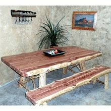Our handcrafted rustic aromatic Red Cedar Log Dining Table.