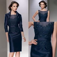 2015 Gorgeous With Jacket Scoop Neck 3/4 Sleeves Knee Length Taffeta Satin Applique Navy Blue Mother Of The Bride Dresses Petite Mother Of The Bride Dresses Cheap Mother Of The Bride Dresses From Beautypalace, $101.28| Dhgate.Com