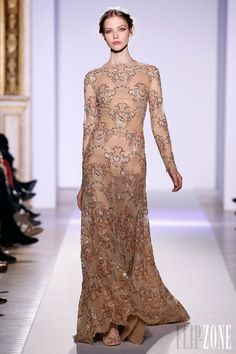Zuhair Murad - Couture - Official pictures, S/S 2013 Long dress in hand-embroidered sand colored lace.