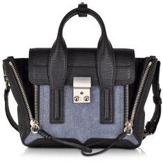 3.1 Phillip Lim Designer Handbags Denim Black Pashli Mini Satchel ($930) ❤  liked on