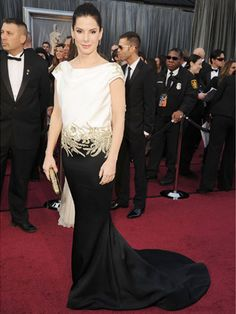 Sandra Bullock in Marchesa at the Oscars.