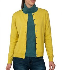Yellow Cashmere Womens Crew Neck Cardigan   Ladies Classic Round Neck Twin Set