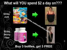 Each bottle has 120 capsules in it. If you take 2 capsules before your two largest meals of the day, it works out to roughly $2.00/day...   If you look at other weight loss plans from other companies, you will find that Skinny Fiber is one of the cheapest on the market, and packs the most punch into one little capsule...    Think about what you might spend $2.00/day on..... morning coffee? a pop and a bag of chips? A muffin from the corner store?   www.cluscombe.eatlessfeelfull.com