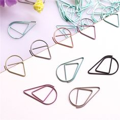 50pcs Metal Material Drop Shape Paper Clips Gold Silver Color Funny Kawaii Bookmark Office Shool Stationery Marking Clips