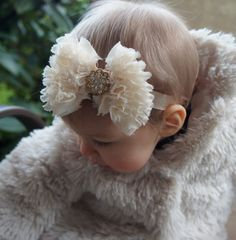 SALE Cream Bow Children's Headband with Gold Baby by CasualCutie, $12.00
