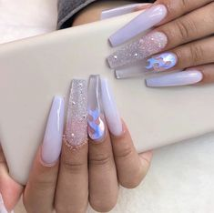 In seek out some nail designs and some ideas for your nails? Listed here is our set of must-try coffin acrylic nails for trendy women. Summer Acrylic Nails, Best Acrylic Nails, Glittery Acrylic Nails, Pastel Nails, Aycrlic Nails, Swag Nails, Grunge Nails, Bling Nails, Stiletto Nails