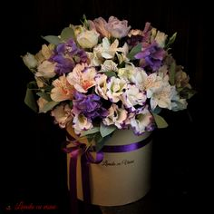 Today's smiles in a Box Of Flowers, Flower Boxes, Purple Flowers, Bucharest, Floral Wreath, Bouquet, Wreaths, Luxury, Gifts