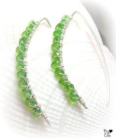 Sterling silver & Chrome diopside wire wrapped earrings