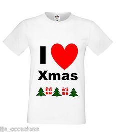 XMAS T-SHIRT WHITE FITTED TOP I LOVE CHRISTMAS LADIES GIFT IDEA SECRET SANTA