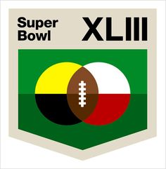 """Alternative Super Bowl Logos // """"Combine my complete lack of knowledge regarding contemporary pro football and the fact that my dad's perpetual underdog Detroit Lions went 0-16 this year and, well, this is what you get: Back to the basics — team colors, green grass and a football. Just like when I was 11, playing until sunset with my neighborhood buddies in Central Lake, Mich."""" -- Aaron Draplin, Draplin Design Co., Portland, Ore."""