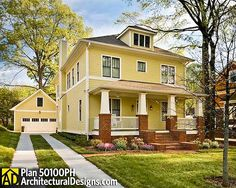 Traditional Four Square House Plan - 50100PH   Country, Craftsman, Traditional, Narrow Lot, Photo Gallery, 2nd Floor Master Suite, CAD Available, Jack & Jill Bath, MBR Sitting Area, PDF   Architectural Designs