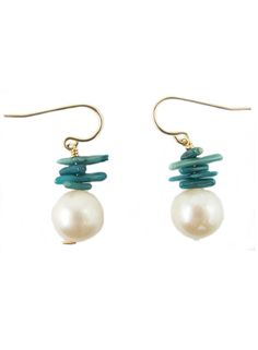 blue coral and freshwater pearl chatham earrings #summer