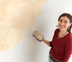 Mottled wall effect by sponging flat paints - this looks like a minimum of fussing around.