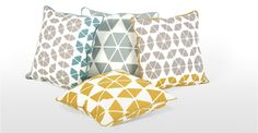 Small Trio Cushion 45 x45cm, Grey and Mustard | made.com