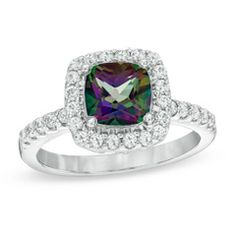 I've tagged a product on Zales: 7.0mm Mystic Fire® Topaz and Lab-Created White Sapphire Frame Ring in Sterling Silver - Size 7