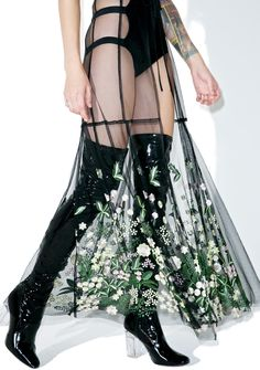 Dryad Queen Maxi Skirt is going to enchant all who enter your grove This beautiful maxi skirt features a long 'N flowy sheer black mesh… Sheer Maxi Skirt, Mesh Skirt, Long Maxi Skirts, Ankle Length Skirt, Wrap Around Skirt, Skirt Fashion, Women's Fashion, Tie Dye Skirt, Beautiful Dresses