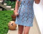 Vestido azul crochet. EM PROMOÇÃO
